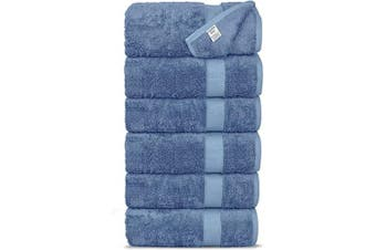 (Hand Towels, Wedgewood) - Chakir Turkish Linens Luxury Ultra Soft Bamboo 6-Piece Hand Towel Set - Soft, Absorbent and Eco-Friendly (Wedgewood)