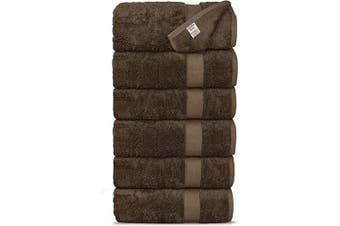 (Hand Towels, Cocoa) - Chakir Turkish Linens Luxury Ultra Soft Bamboo 6-Piece Hand Towel Set - Soft, Absorbent and Eco-Friendly (Cocoa)