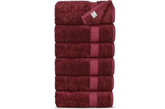 (Hand Towels, Cranberry) - Chakir Turkish Linens Luxury Ultra Soft Bamboo 6-Piece Hand Towel Set - Soft, Absorbent and Eco-Friendly (Cranberry)