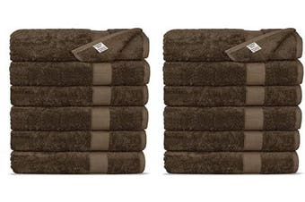 (Washcloths, Cocoa) - Chakir Turkish Linens Luxury Ultra Soft Bamboo 12-Piece Washcloths - Soft, Absorbent and Eco-Friendly (Cocoa)