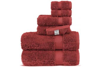 (6-Piece Towel Set, Cranberry) - Chakir Turkish Linens Luxury Ultra Soft Bamboo 6-Piece Towel Set - Soft, Absorbent and Eco-Friendly (Cranberry)