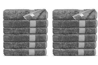 (Washcloths, Gray) - Chakir Turkish Linens Luxury Ultra Soft Bamboo 12-Piece Washcloths - Soft, Absorbent and Eco-Friendly (Grey)