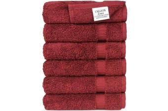 (Cranberry) - Luxury Spa and Hotel Quality Premium Turkish Cotton Washcloth Towel Set (Cranberry)
