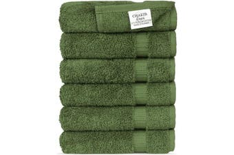 (Moss) - Luxury Spa and Hotel Quality Premium Turkish Cotton Washcloth Towel Set (Moss)