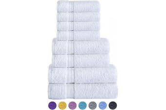 (8-Piece Towel Set, White) - COTTON CLUB - 8 Piece Cotton Towel Set, Fade Resistant. 2 Bath Towel, 2 Hand Towel and 4 WASH Cloth (White, 8-Piece Towel Set)