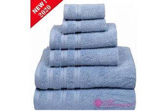 "(6 Pcs set, Skyway-a) - CASA COPENHAGEN Denmark Soft Linen Premium, 6 Piece Kitchen and Bathroom Egyptian Cotton Towel Set, [Worth $72.95] -""Skyway (2 King Size Bath Towel, 2 Hand Towels, 2 Face Towels, 2 Face Towels"
