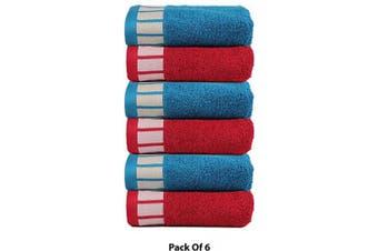 (6 Pcs Set, Teal Sachet/Red) - CASA COPENHAGEN 550 GSM Extra Soft Extra Large Cotton 6 Pcs Hand Towels, 50 X 70 cm.- Blue & Red