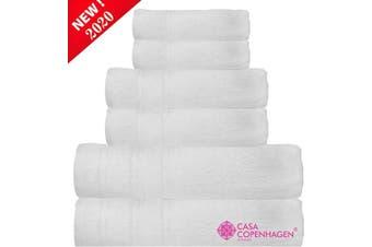 "(6 Pcs set, Bright White-a) - CASA COPENHAGEN Denmark Soft Linen Premium, 6 Piece Kitchen and Bathroom Egyptian Cotton Towel Set, [Worth $72.95] -""Bright White (2 King Size Bath Towel, 2 Hand Towels, 2 Face Towels, 2 Face Towels"
