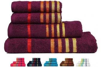 (4 Pcs Set, Purple-a) - CASA COPENHAGEN Exotic Premium Cotton 475 GSM 4 Pieces Designer Bath & Hand Towels Gift Set - Purple