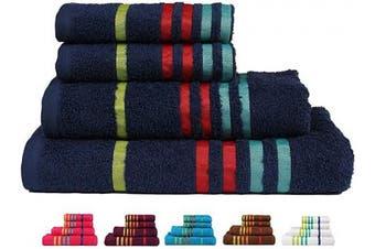 (4 Pcs Set, Midnight Blue-a) - CASA COPENHAGEN Exotic Premium Cotton 475 GSM 4 Pieces Designer Bath & Hand Towels Gift Set - Blue