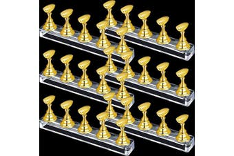 (Gold) - 6 Sets Nail Tips Stand Holder Acrylic Nail Tips Practise Display Stand Magnetic Nail Art Holder Manicure Finger Training Stands for DIY Nail Salon (Gold)