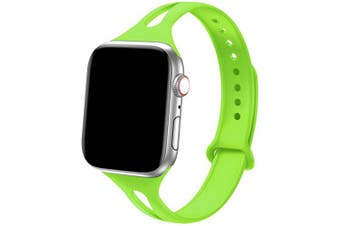 "(38mm/40mm - S/M: 5.6"" -7.1"", Green) - Bandiction Sport Band Compatible with Apple Watch 38mm 40mm, Soft Silicone Sport Strap Replacement Narrow Bands for iWatch Series 4 3 2 1 Sport Edition Women Men Green"
