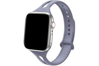 "(42mm/44mm - S/M: 6.2"" - 7.9"", Lavender Gray) - Bandiction Sport Band Compatible with Apple Watch 38mm 40mm, Soft Silicone Sport Strap Replacement Narrow Bands for iWatch Series 4 3 2 1 Sport Edition (Lavender Grey, 42mm/44mm - S/M: 6.2"" - 7.9"")"