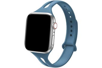 "(38mm/40mm - S/M: 5.6"" -7.1"", Alaskan Blue) - Bandiction Sport Band Compatible with Apple Watch 38mm 40mm, Soft Silicone Sport Strap Replacement Narrow Bands for iWatch Series 4 3 2 1 Sport Edition Women Men (Alaskan Blue)"