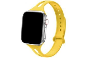 "(38mm/40mm - S/M: 5.6"" -7.1"", Yellow) - Bandiction Sport Band Compatible with Apple Watch 38mm 40mm, Soft Silicone Sport Strap Replacement Narrow Bands for iWatch Series 4 3 2 1 Sport Edition Women Men Yellow"