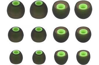 (Black/Green) - ALXCD Eartips for Sony in-Ear Headphone, (S/M/L) 6 Pair Silicone Replacement Ear Tips Cushion, Fit for Sony MDR XBA Series in-Ear Headset MDR-XB50AP XBA-H1 etc.[6 Pair](Black/Green)