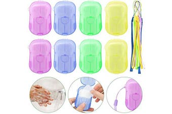 MELLIEX 8 Pack Portable Disposable Soap Paper, 160pcs Mini Scented Slice Sheets Foaming Paper Soap Flakes with Storage Box and Lanyard for Toilet, Bath, Travel, Camping, Hiking