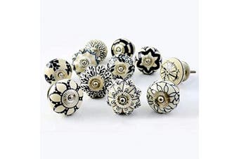 (Black & White) - Artncraft Set of 30 Black and White Hand Painted Ceramic Cupboard Cabinet Door Knobs (Black & White 30)