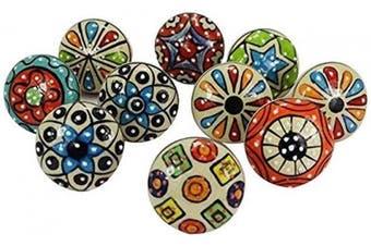 (Beige Mix) - Artncraft 10 Pieces Set Dotted Ceramic Cabinet Colourful Knobs Furniture Handle Drawer Pulls (Design)