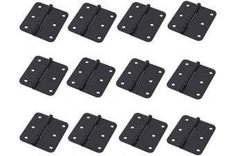 "(Flat Black 1.5"" x 1.3"", 12pcs) - Antrader Asymmetric Door Hinge Cabinet Gate Closet Hinge 2.5cm - 1.3cm Long Home Furniture Hardware Folding Butt Hinge, Flat Black, Pack of 12"