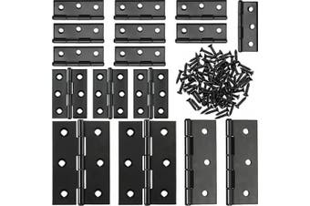 (2 Inch and 3 Inch, Black) - Boao 16 Pieces Stainless Steel Folding Butt Hinges Home Furniture Hardware Door Hinge with 96 Pieces Stainless Steel Screws
