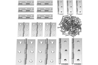 (2 Inch and 3 Inch, Silver) - Boao 16 Pieces Stainless Steel Folding Butt Hinges Home Furniture Hardware Door Hinge with 96 Pieces Stainless Steel Screws (5.1cm and 7.6cm , Silver)