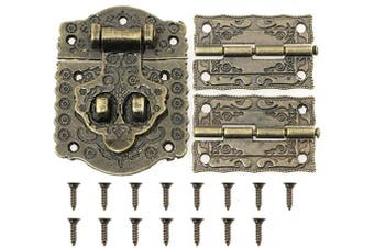 Magic & shell Decorative Antique Style Embossing Decorative Hasp Latch Lock with Mini Hinge and Screws for Furniture Cabinet Wood Case Box