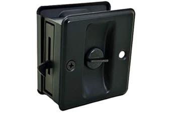 (1 Pack, Matte Black (Lockable)) - QCAA Solid Brass Sliding Door Pull Privacy Pocket Lock, Matte Black, 1 Pack