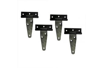 (4inch, 4 PCS) - T & B T-Strap Light Duty Hinge Gate Strap Hinge Door Barn Gates Hinges Black Wrought Hardware Iron Rustproof 4PCS (10cm )