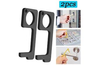 (Black) - Door Opener Tool, Non-Contact Door Opener and Enclosed Stylus, EDC Door Opener to Avoid Using Direct Touch Tools to Keep Hands Clean in Public