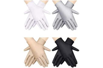 4 Pairs Women Sun Protective Gloves Sunscreen Gloves UV Protection Gloves Outdoor Driving Gloves (Black, White, Grey, Beige)