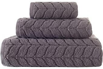 (3 pcs Towel Set, Grey) - Bagno Milano Jacquard Woven%100 Turkish Cotton Quick Dry Towels, Non-GMO Turkish Cotton Plush Luxury Towels, Thick and Soft Durable Spa Towel Set - Grey 3 Pcs Set of Towel