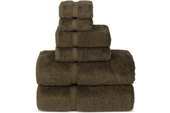 (Cocoa) - Chakir Turkish Linens Luxury Spa and Hotel Quality Premium Turkish Cotton 6-Piece Towel Set (2 x Bath Towels, 2 x Hand Towels, 2 x Washcloths, Cocoa)