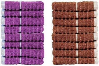 (16, Toffee & Sparkling Grape) - CASA COPENHAGEN Linea Ribbed Zero Twist Cotton 16-Pieces Face Towels (Wash Cloth) Combo, Toffee & Sparkling Grape