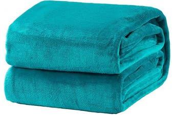 (Throw(130cm  x 150cm ), Teal) - Bedsure Fleece Blanket Throw Size Teal Lightweight Super Soft Cosy Luxury Bed Blanket Microfiber