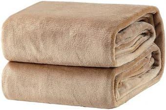 (Queen(230cm  x 230cm ), Camel) - Bedsure Fleece Blanket Queen Size Taupe Lightweight Super Soft Cosy Beige Bed Blanket