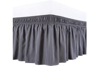 Biscaynebay Wrap Around Bed Skirts Elastic Dust Ruffles, Easy Fit Wrinkle and Fade Resistant Luxrious Silky Fabric Solid Colour, Dark Grey Queen 38cm Drop