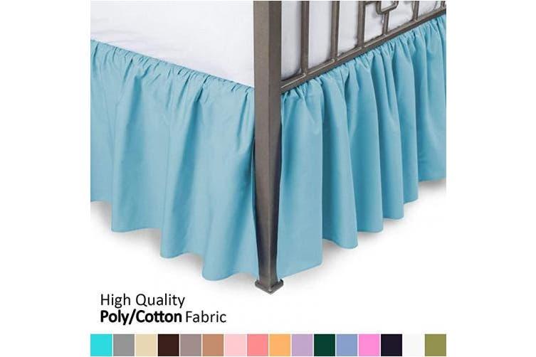 Queen 46cm Drop Aqua Ruffled Bed, Queen White Bed Skirt 16 Drop