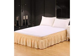 (46cm -Queen/King, Deep Beige) - XUANDIAN Bed Skirt Queen King Size Pure Bed Ruffle Skirts,46cm Drop