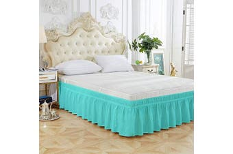 (46cm -Queen/King, Blue-green) - XUANDIAN Queen Size Bed Skirt Ruffled Wrap Around Bed Skirts,46cm Drop