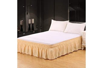 (36cm -Queen/King, Deep Beige) - XUANDIAN Bed Skirt Queen King Size Dust Ruffle Bed Skirts with Bed Skirt Pins,Deep Beige,36cm Drop