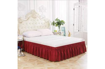 (41cm -Queen/King, Wine) - XUANDIAN Wrap Around Bed Skirt Queen King Size Pure Bed Ruffle Skirts,Wine,46cm Drop