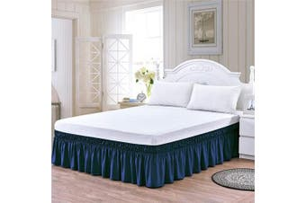 (41cm -Queen/King, Blue) - XUANDIAN Wrap Around Bed Skirt Queen King Size Pure Bed Ruffle Skirts,Blue,41cm Drop