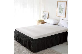 (41cm -Queen/King, Black With With Pom-poms Fringe) - XUANDIAN Bed Skirt Queen King Size Ruffle Bed Skirts with Pom-Poms Fringe,Black,41cm Drop