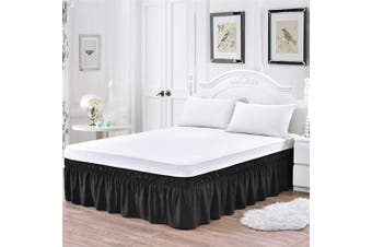 (41cm -Queen/King, Black) - XUANDIAN Queen Bed Skirt Black Ruffle Bed Skirts,41cm Drop