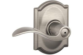 (Satin Nickel) - Schlage Accent Lever with Camelot Trim Bed and Bath Lock in Satin Nickel - F40 ACC 619 CAM