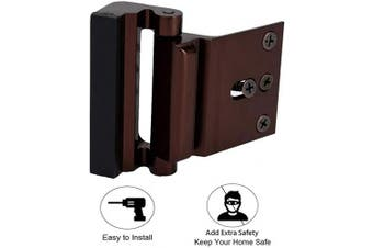 (Brown) - Door Reinforcement Locks with 4 Screws, Home Security Door Lock Stop for Toddler, Childproof Door Lock Night Lock Withstand 360kg Brown
