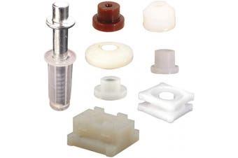 Prime-Line N 7539 Bi-fold Door Top Pivot and Cap Repair Kit, Plastic Base Fits 1cm . Diameter, 7 Pairs Cap Assortment, Spring-Loaded, 1 Kit