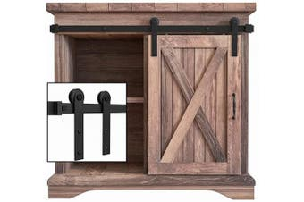 (3FT Single Door Kit) - WINSOON 0.9m Super Mini Sliding Barn Door Cabinet Hardware Kit for Single Door TV Stands Small Wardrobe Cabinets, I Shape Hanger (NO Cabinet)
