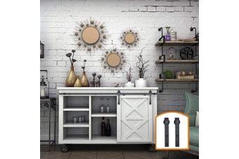 "(3 Feet Single Door, Supper Mini "" J "" Shape) - ZEKOO 0.8m - 2.4m Super Mini Sliding Barn Door Hardware Kit J Shape Hanger Flat Track for Cabinet TV Stand Console (0.9m, Single Door Kit)"